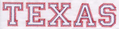 "Embroidery Design: Texas Name1.74"" x 7.94"""