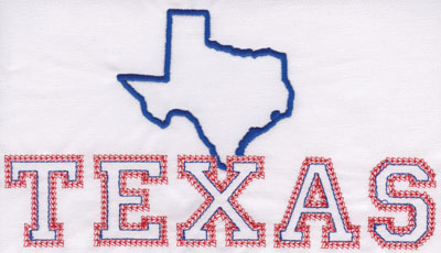 """Embroidery Design: Texas Outline and Name4.46"""" x 7.94"""""""