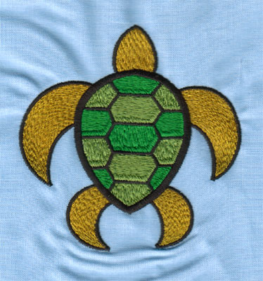 "Embroidery Design: Sea Turtle (large)3.91"" x 4.02"""
