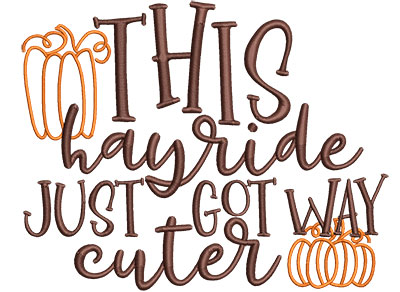 Embroidery Design: This Hayride Just Got Cuter Lg 6.71w X 5.30h