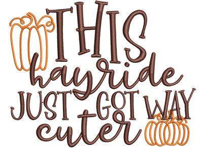 Embroidery Design: This Hayride Just Got Cuter Sm 4.71w X 3.72h