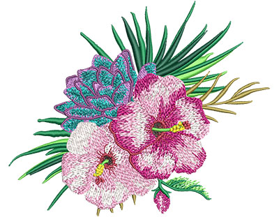 Embroidery Design: Tropical Flowers 1 6.09w X 5.01h
