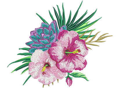Embroidery Design: Tropical Flowers 2 7.91w X 6.52h