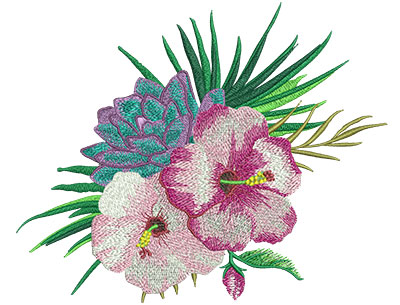 Embroidery Design: Tropical Flowers 3 9.06w X 7.47h