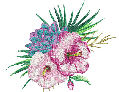 Embroidery Design: Tropical Flowers 3 Low Density 9.06w X 7.46h