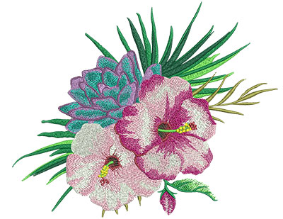 Embroidery Design: Tropical Flowers 4 10.88w X 8.96h