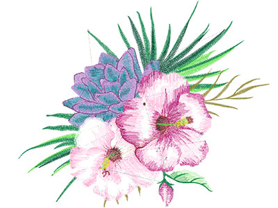 Embroidery Design: Tropical Flowers 4 Low Density 10.87w X 8.96h