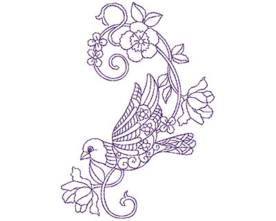 Embroidery Design: Paisley Bird with Flowers A 3.69w X 5.19h
