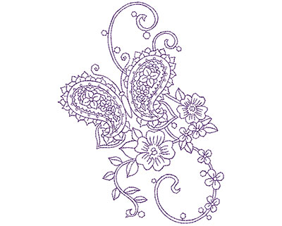 Embroidery Design: Paisley Floral Butterfly B 5.06w X 6.75h