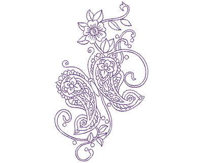 Embroidery Design: Paisley Flower Butterfly B 4.31w X 7.38h