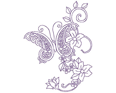 Embroidery Design: Paisley Butterfly A 4.06w X 5.44h