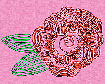 Embroidery Design: Rose flower 7.13w X 4.88h
