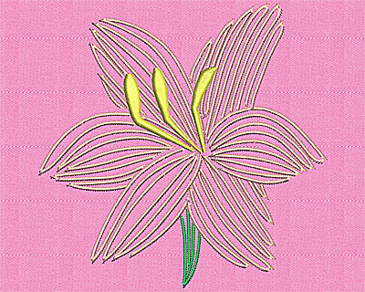 Embroidery Design: Open lily 5.19w X 5.13h