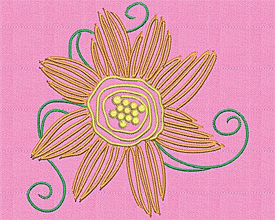 Embroidery Design: Flower with swirls 5.25w X 5.06h