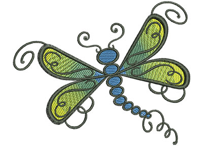Embroidery Design: Abstract Dragonfly A 4.52w X 3.73
