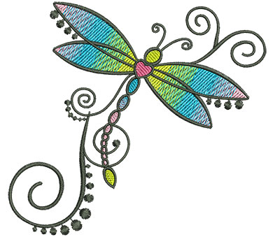 Embroidery Design: Abstract Dragonfly B 4.52w X 4.16h