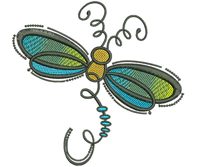 Embroidery Design: Abstract Dragonfly D 4.53w X 4.41h