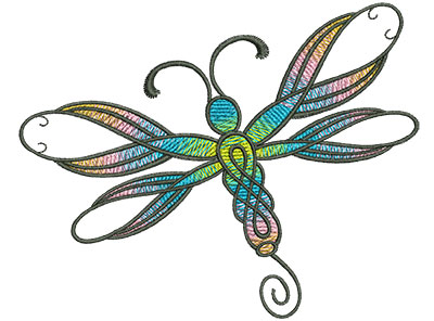 Embroidery Design: Abstract Dragonfly F 4.52w X 3.63h
