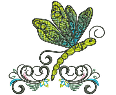Embroidery Design: Abstract Dragonfly H 4.53w X 4.50h