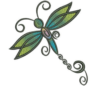 Embroidery Design: Abstract Dragonfly I 4.52w X 4.93h
