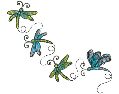 Embroidery Design: Abstract Dragonfly J 6.80w X 6.11h