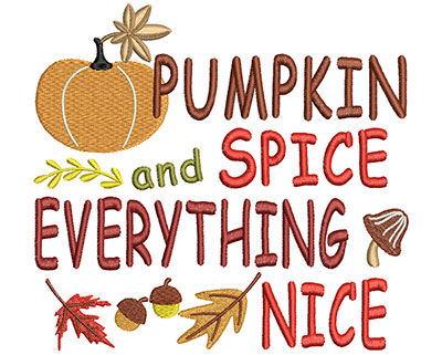 Embroidery Design: Pumpkin Spice 6.02w X 5.58h