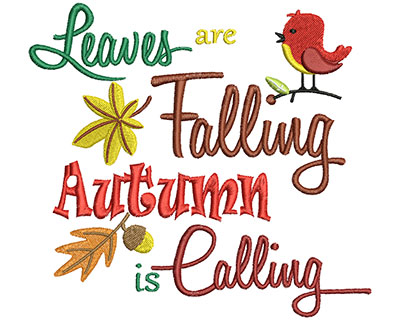 Embroidery Design: Leaves Are Falling Autumn 6.02w X 5.53h