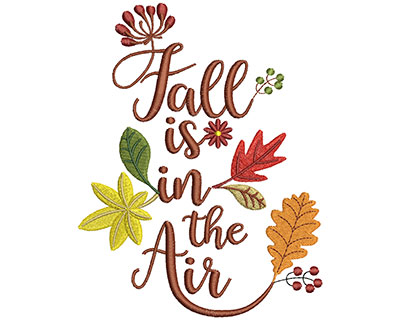 Embroidery Design: Fall Is In The Air Text 4.66w X 6.01h