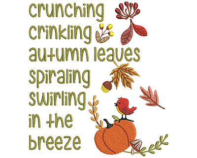 Embroidery Design: Autumn Leaves Text 5.42w X 6.02h