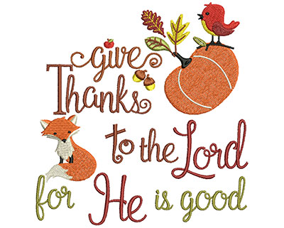 Embroidery Design: Give Thanks  5.71w X 6.00h