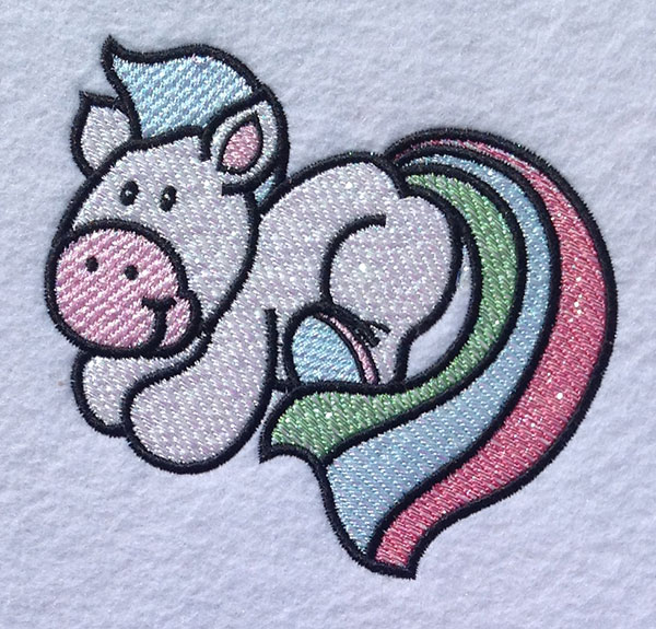 Embroidery Design: Magical Mylar Horse 1 4.77w X 4.49h