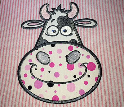 Embroidery Design: Applique cow small 3.69w X 4.88h