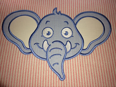 Embroidery Design: Applique elephant small 6.94w X 4.69h
