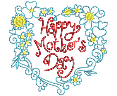 Embroidery Design: Happy Mother's Day Bouquet Large 6.50w X 6.15h