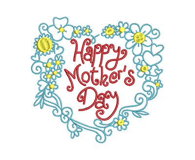 Embroidery Design: Happy Mother's Day Bouquet Small 5.24w X 4.96h