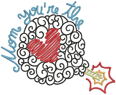 Embroidery Design: Mom You're The Bomb Large 6.93w X 5.61h