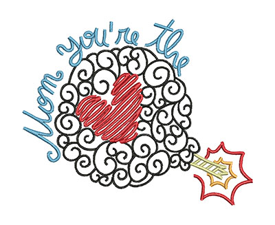 Embroidery Design: Mom You're The Bomb Small 5.89w X 4.77h