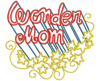 Embroidery Design: Wonder Mom Large 6.28w X 5.67h