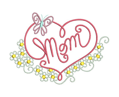 Embroidery Design: Mom Floral Small 6.28w X 4.57h