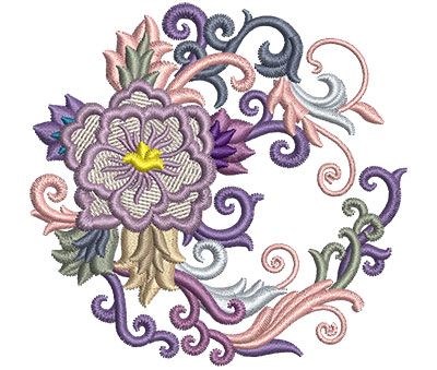 Embroidery Design: Flower Fans 1 3.26w X 3.14h