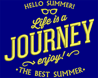 Embroidery Design: Summer Life Is A Journey Small 5.48w X 4.72h