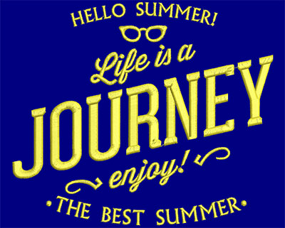 Embroidery Design: Summer Life Is A Journey Large 6.84w X 5.89h