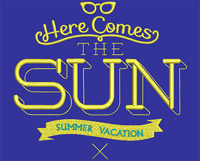 Embroidery Design: Here Comes The Sun Large 6.85w X 6.22h