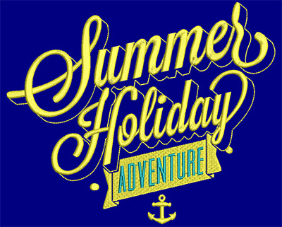Embroidery Design: Summer Holiday Adventure Large 8.68w X 7.18h