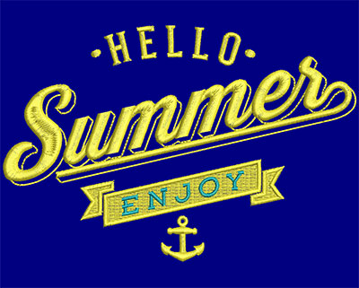 Embroidery Design: Hello Summer Enjoy Small 5.92w X 3.97h