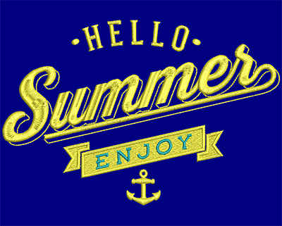 Embroidery Design: Hello Summer Enjoy Large 7.40w X 4.95h
