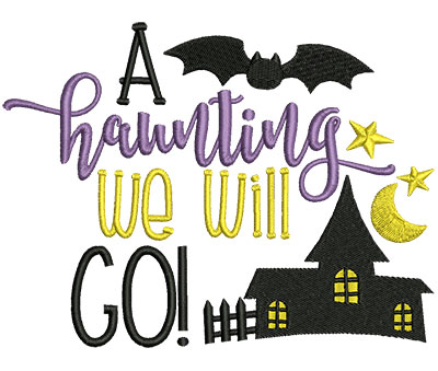 Embroidery Design: A Haunting We Will Go 6.51w X 4.90h