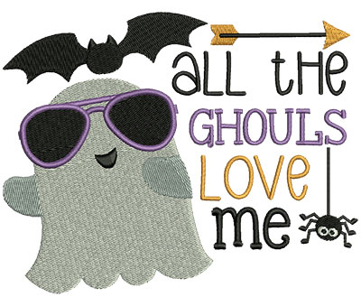 Embroidery Design: All The Ghouls Love Me 6.00w X 4.75h