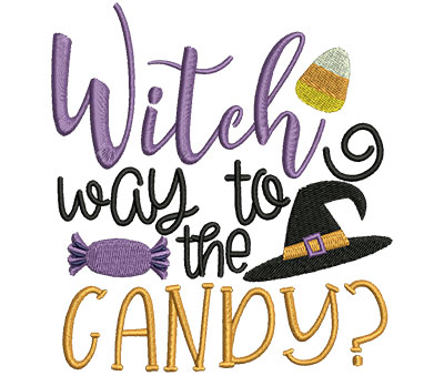 Embroidery Design: Witch Way To The Candy 4.62w X 5.00h