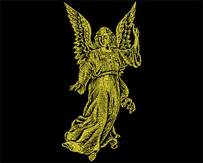 Embroidery Design: Golden Angel 1 Small 3.38w X 6.88h